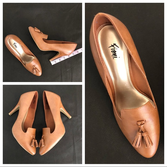 e4e5c7440a Fioni Shoes | Slip On Heels Pump Tassel Career Cognac | Poshmark